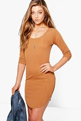 Boohoo Long Sleeve Scoop Neck Rib Dress Camel