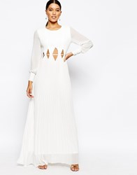 True Decadence Long Sleeve Maxi Dress With Cut Out Waist Cream