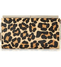 Dune Britney Leopard Print Calf Hair Clutch Leopard Leather