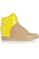 Nike Dunk Sky Hi Leather Wedge Sneakers Bright Yellow