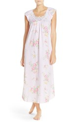 Women's Midnight By Carole Hochman Floral Cotton Nightgown Pink