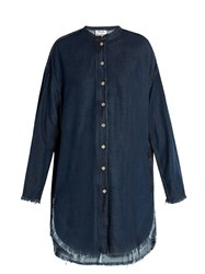 Acne Studios Gracie Frayed Edge Denim Shirtdress Dark Blue