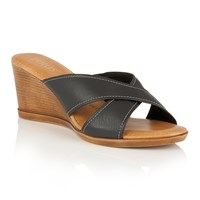 Lotus Ashling Wedge Mules Black
