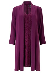 Adrianna Papell Lace Dress And Coat Set Purple