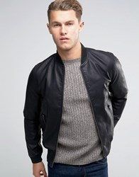 New Look Faux Leather Bomber Jacket In Black Black