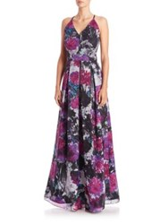 Phoebe Couture Floral Crisscross Back Gown