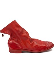Guidi Distressed Ankle Boots Red