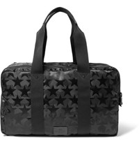 Valentino Leather Trimmed Star And Camouflage Patterned Canvas Holdall Black
