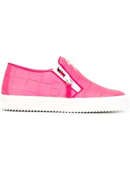 Giuseppe Zanotti Design Embossed Crocodile Effect Slip On Sneakers Pink And Purple