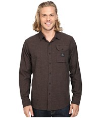 Vissla Seaweed Long Sleeve Yarn Flannel Java Men's Clothing Brown