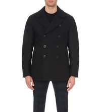 Slowear Double Breasted Wool And Cashmere Blend Peacoat Navy