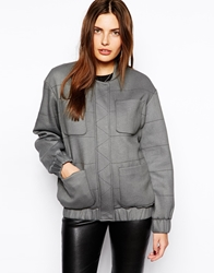By Zoe Military Style Bomber With Pockets Anthracite