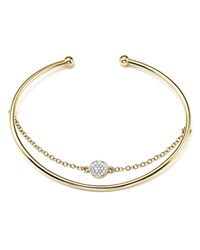 Bloomingdale's Diamond Pave Disc Bangle Bracelet With Chain In 14K Yellow Gold .09 Ct. T.W.