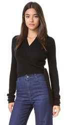 Equipment Shaylin Cropped Wrap Sweater Black