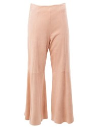 Drome Pleated Cropped Flared Trousers Pink Purple