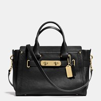 Coach Swagger Carryall In Nubuck Pebble Leather Light Gold Black