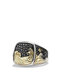 David Yurman Waves Signet Ring With 18K Gold And Black Diamonds Black Silver Gold