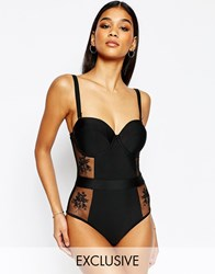 Wolf And Whistle Bustier Lace Swimsuit Black