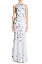 Women's Jay Godfrey Sequin Cutout Mermaid Gown White