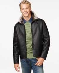 Marc New York Marc Nw York Faux Leather Jacket With Shearling Lining Black