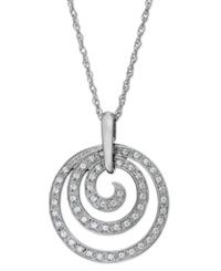Macy's Diamond Swirl Pendant Necklace In Sterling Silver 1 6 Ct. T.W.