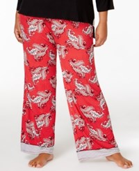 Ellen Tracy Plus Size Contrast Trimmed Pajama Pants Red Novelty
