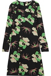 Marni Floral Print Silk Crepe De Chine Dress Green Black
