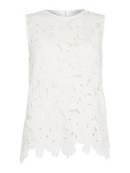 Oui Sleeveless Embroidered Floral Top White