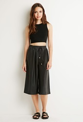 Forever 21 Faux Leather Drawstring Culottes Black