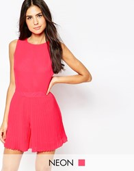 Lashes Of London Romper In Pleated Chiffon Pink