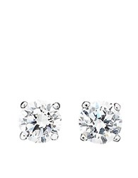 Crislu Cubic Zirconia Stud Earrings Silver