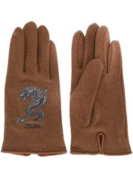 Jean Paul Gaultier Vintage Dragon Embroidered Gloves Brown