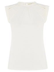 Oasis Pintuck Trim Shell Top Off White