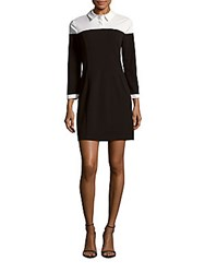 1.State Collared Two Tone Dress Rich Black