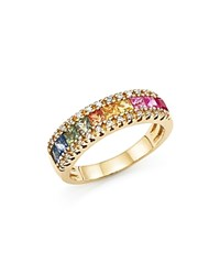 Bloomingdale's Multi Sapphire And Diamond Band Ring In 14K Yellow Gold Gold Multi