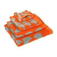 Orla Kiely Square Flower Towel Red And Duck Egg Face Towel