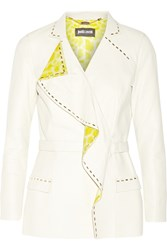 Just Cavalli Satin Trimmed Leather Jacket White