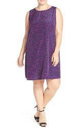 Plus Size Women's Halogen Sleeveless Shift Dress Navy Purple Fragment Print