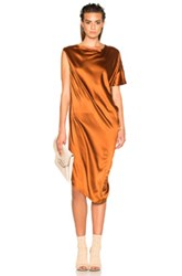 Ann Demeulemeester Drape Dress In Brown Metallics Brown Metallics