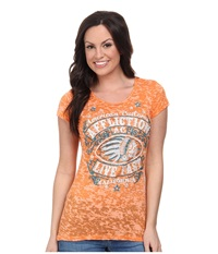 Affliction Ac Spanish Fly Cap Sleeve 50 50 Tee Orange Burnout Women's T Shirt