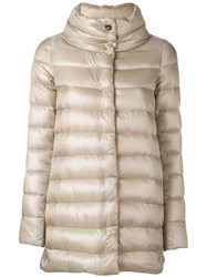 Herno Funnel Neck Padded Coat Nude And Neutrals