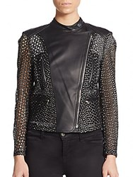 Yigal Azrouel Eyelet Leather Moto Jacket Black