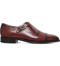 Sutor Mantellassi Uberto Leather Single Monk Shoes Mid Brown