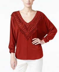 Ny Collection Crochet Fringe Trim Peasant Top Umber