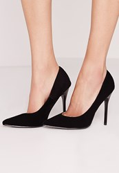 Missguided Faux Suede Pointed Stiletto Court Shoes Black Black
