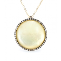 Roberto Marroni 18Kt Yellow Satinized Gold Surround Necklace With Lemon Quartz And Brown Diamonds