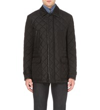 Brioni Leather Trim Quilted Jacket Navy