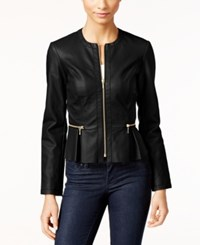 Inc International Concepts Macy's Faux Leather Peplum Moto Jacket Only At Macy's Deep Black