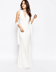 Forever Unique Austin Maxi Dress With Beaded Collar And Back Strap Detail White