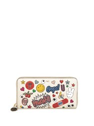 Anya Hindmarch All Over Stickers Zip Around Leather Wallet White Multi